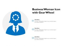Business Woman Icon With Gear Wheel