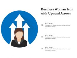 Business Woman Icon With Upward Arrows