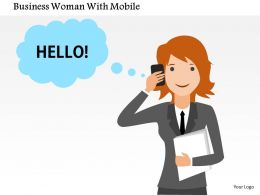 Business Woman With Mobile Flat Powerpoint Design