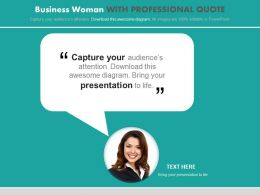 Business Woman With Professional Quote Powerpoint Slides