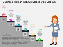 Business Woman With Six Staged Step Diagram Flat Powerpoint Design