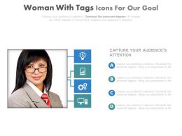 Business Woman With Tags And Icons For Our Goal Powerpoint Slides