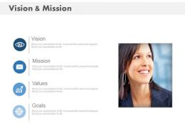Business Woman With Vision Mission Goal And Values Powerpoint Slides
