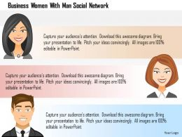 Business Women With Man Social Network Powerpoint Template
