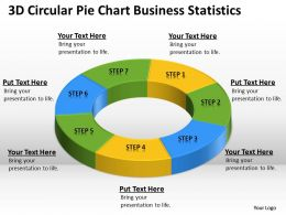 Business Workflow Diagram 3d Circular Pie Chart Statistics Powerpoint Slides