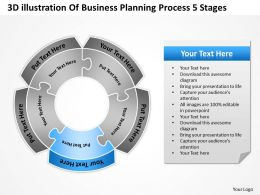 Business Workflow Diagram 3d Illustration Of Planning Process 5 Stages Powerpoint Slides