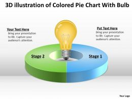 Business Workflow Diagram Of Colored Pie Chart With Bulb Innovation Concept Powerpoint Slides