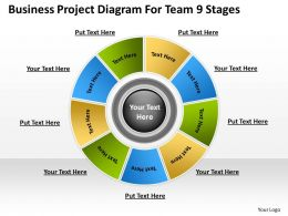 Business Workflow Diagram Project For Team 9 Stages Powerpoint Slides