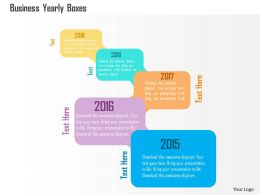 Business Yearly Boxes Flat Powerpoint Design