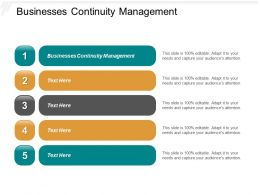 Businesses Continuity Management Ppt Powerpoint Presentation File Example Cpb
