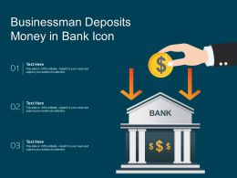 Businessman Deposits Money In Bank Icon