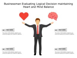 Businessman Evaluating Logical Decision Maintaining Heart And Mind Balance