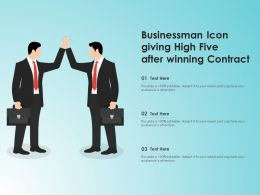 Businessman Icon Giving High Five After Winning Contract