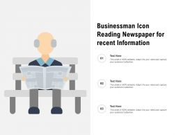Businessman Icon Reading Newspaper For Recent Information