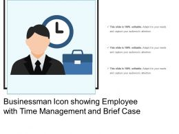 Businessman Icon Showing Employee With Time Management And Brief Case