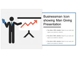Businessman Icon Showing Man Giving Presentation