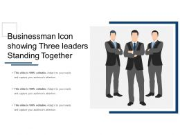 Businessman Icon Showing Three Leaders Standing Together