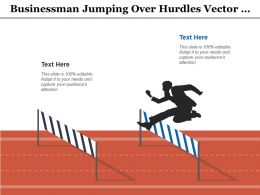 Businessman Jumping Over Hurdles Vector Illustration