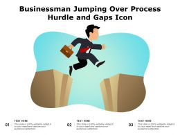 Businessman Jumping Over Process Hurdle And Gaps Icon