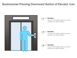 Businessman Pressing Downward Button Of Elevator Icon