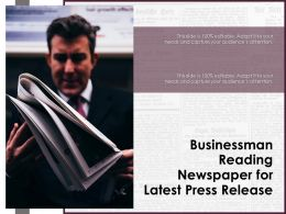 Businessman Reading Newspaper For Latest Press Release