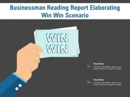 Businessman Reading Report Elaborating Win Win Scenario