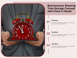 Businessman Showing Time Savings Concept With Clock In Hands