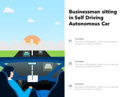 Businessman Sitting In Self Driving Autonomous Car