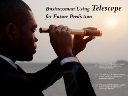 Businessman Using Telescope For Future Prediction