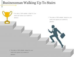 Businessman Walking Up To Stairs Ppt Slide Template