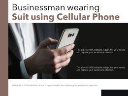 Businessman Wearing Suit Using Cellular Phone