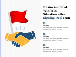 Businessmen At Win Win Situation After Signing Deal Icon