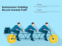 Businessmen Pedaling Bicycle Towards Profit