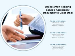 Businessmen Reading Service Agreement Document To Close Deal