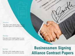 Businessmen Signing Alliance Contract Papers