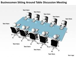 Businessmen Sitting Around Table Discussion Meeting Ppt Graphic Icon