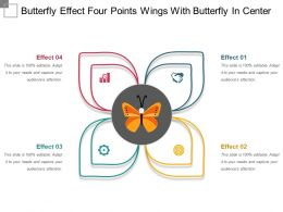 Butterfly Effect Four Points Wings With Butterfly In Center