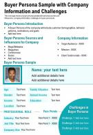 Buyer Persona Sample With Company Information And Challenges Presentation Report Infographic PPT PDF Document