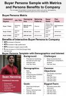Buyer Persona Sample With Metrics And Persona Benefits To Company Presentation Report Infographic PPT PDF Document