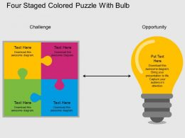 bv Four Staged Colored Puzzle With Bulb Flat Powerpoint Design