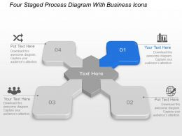 Bv Four Staged Process Diagram With Business Icons Powerpoint Template Slide
