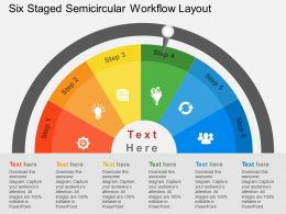 bv Six Staged Semicircular Workflow Layout Flat Powerpoint Design