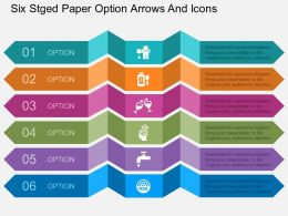 bv Six Stged Paper Option Arrows And Icons Flat Powerpoint Design