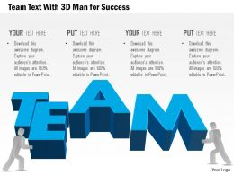 Bv Team Text With 3d Man For Success Powerpoint Template