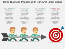 bv Three Business Peoples With Dart And Target Board Flat Powerpoint Design