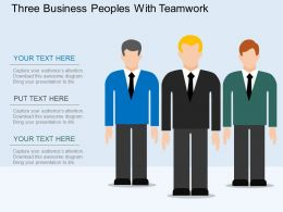 bv Three Business Peoples With Teamwork Flat Powerpoint Design