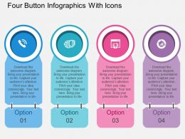 bw Four Button Infographics With Icons Flat Powerpoint Design