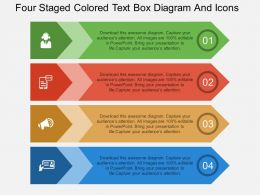 bw Four Staged Colored Text Box Diagram And Icons Flat Powerpoint Design