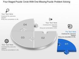 Bw Four Staged Puzzle Circle With One Missing Puzzle Problem Solving Powerpoint Template Slide