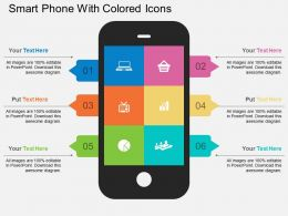 bw Smart Phone With Colored Icons Flat Powerpoint Design